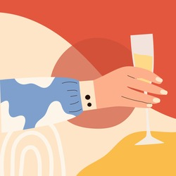 Female hand holding glass of sparkling wine. Woman's in bright clothes with memphis pattern holding glass. Alcohol drink. Concept of champagne lover. Side view. Flat vector illustration