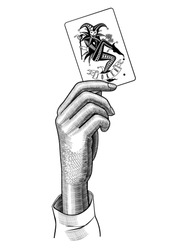 Female hand holding Joker playing card. Casino game retro concept design. Vintage engraving stylized drawing. Vector illustration