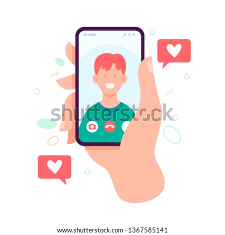 Female hand holding smartphone with boyfriend on screen. Video call with loved one. Video call concept. Vector flat cartoon illustration