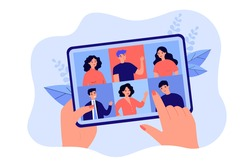 Female hand holding tablet with group video call isolated flat vector illustration. Cartoon digital tablet with online conference on screen. Virtual community and communication concept