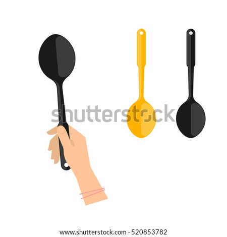 Female hand is holding black plastic spoon. Flat illustration of kitchen and cooking utensils. Vector element for web design and inforaphics.