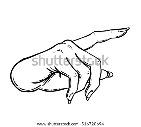 Female hand pointing on something with forefinger. Showing direction, selection, attention, caution, fingerprint, choice symbol. Black and white vector illustration in vintage style isolated on white.