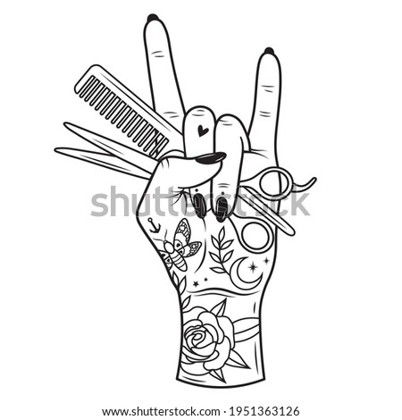 Female hand with hairdressing tools. Hairdresser logo. Beauty salon. Hair hustlers illustration. Stylists hand with scissors. Horn sign. Haircut. Tattoo.