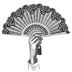 Female hand with open fan. Vintage engraving stylized drawing. Vector illustration
