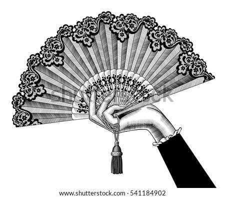 female hand with open fan....