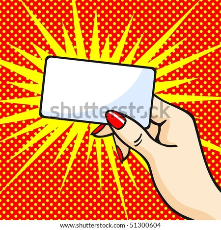 Female hand with red manicure holding a card
