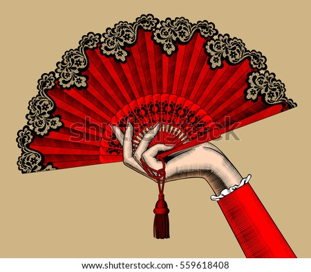 female hand with red open fan....