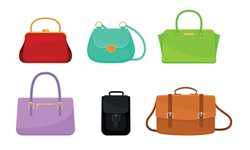 Female Handbags Made of Artificial Leather Isolated on White Background Vector Set