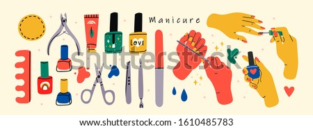 Female hands and Various manicure accessories, equipment, tools. Nail scissors, nail file, tweezers, nail polish, hand cream, polish remover, brush etc. Hand drawn big colored vector set