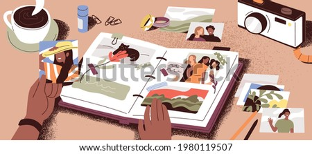 Female hands creating photo album, attaching and arranging photographs and memory notes. Creation of book with pictures. Colored flat vector illustration of photoalbum or scrapbook with images. Сток-фото ©