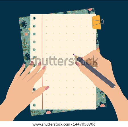 Female hands hold a pencil, top view with to do list. Planning and organization with beautiful flowers notepad. Vector illustration.