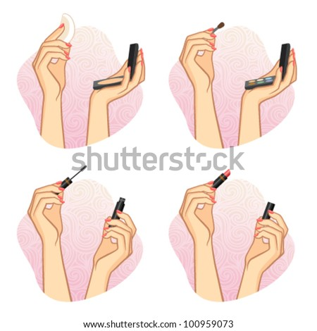 Female hands hold powder, eye shadow, ink for eyelashes and lipstick. Makeup, fashion and beauty image