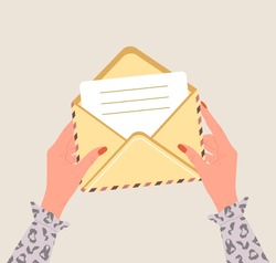 Female hands holding an open envelope with paper letter. Correspondence and mail delivery concept. Top view. Post stamps and postcards. Vector illustration in flat cartoon style.