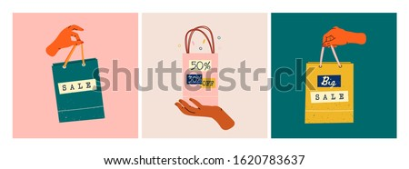 Female hands holding colorful Shopping or gift Bags. Sale sign. Various percents. Sack for purchases, presents. Set of three Hand drawn vector illustrations. Shopping, sale concept