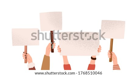 Female hands holding empty banners with place for text taking part at demonstration vector flat illustration. Different woman arms with placards at protest meeting isolated on white