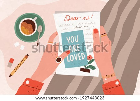 Female hands holding postcard and handwritten letter. Concept of self-love and care. Sending post card and writing message to yourself in future with inspirational text. Flat vector illustration