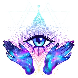 Female hands with galaxy inside open around masonic symbol. New World Order. Hand-drawn alchemy, religion, spirituality, occultism. Vector illustration in hipster style isolated on white.