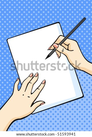 Female hands with pencil and paper