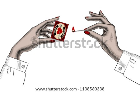 Female hands with safety matches. Vintage colored engraving stylized drawing. Vector illustration