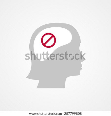 female head and forbidden icon