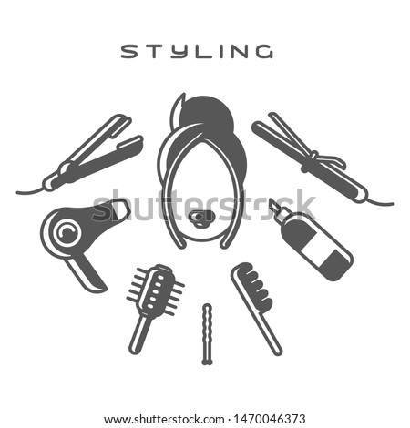 Female head surrounded by styling tools on white background. Flat style vector illustration