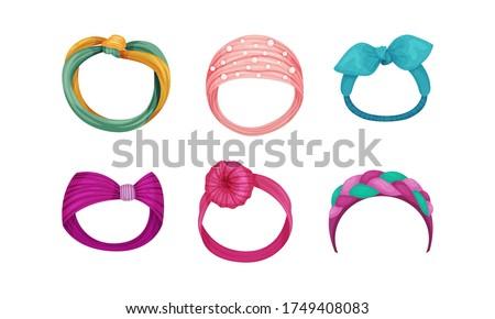 Female Headband as Hair or Head Accessory Vector Set Foto stock ©