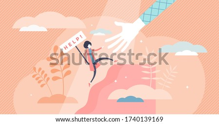 Female help vector illustration. Woman safety care flat tiny persons concept. Symbolic sign with ask for support in problem frustration moment. Reaching for assistance after bankruptcy or fear emotion