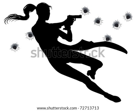female heroin leaping through