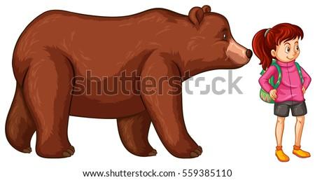 stock-vector-female-hiker-and-big-bear-illustration