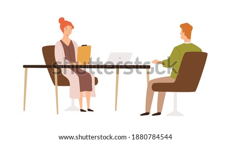 Female HR manager having job interview with male applicant vector flat illustration. Recruit and employer talking in office isolated on white. Head hunting, recruitment and candidate choice