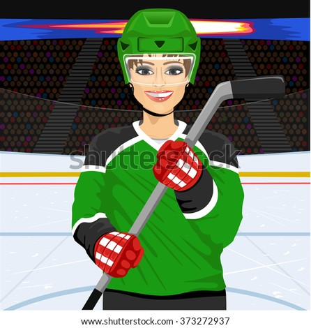 female ice hockey player with