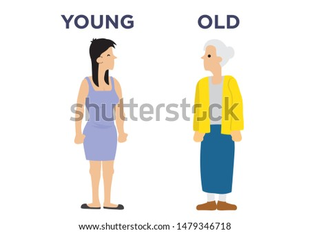 Female in two different age. Concept of aging. Flat cartoon isolated illustration.