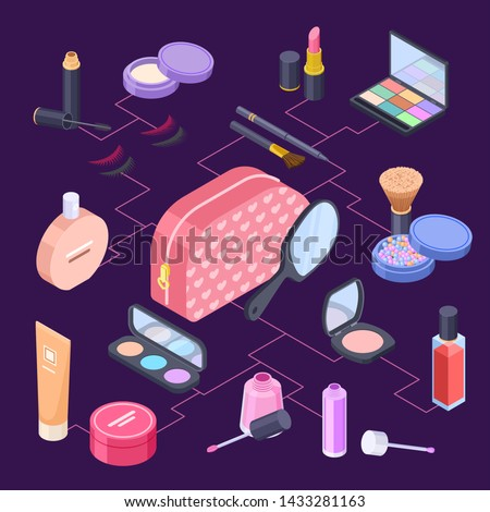 Female isometric cosmetics bag vector concept. Cosmetics for girl and woman - lipstick, powder, shadows, foundation, mascara. Cosmetic beauty and fashion, eyeshadow and powder illustration