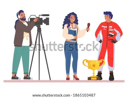 Female journalist, news reporter with microphone and cameraman interviewing race driver, flat vector illustration. Live reportage. Correspondent doing sport interview with car racing champion. Stockfoto ©