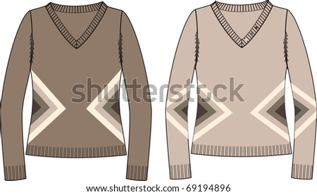 Female knitted jersey (pullover)  See more clothing designs in my portfolio
