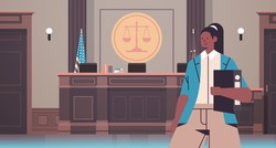 female lawyer holding judge book legal law advice justice concept court interior portrait horizontal vector illustration