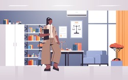 female lawyer holding judge book or folder legal law advice justice concept modern office interior full length horizontal vector illustration