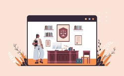 female lawyer standing near at workplace legal law advice and justice concept modern office interior full length horizontal copy space vector illustration