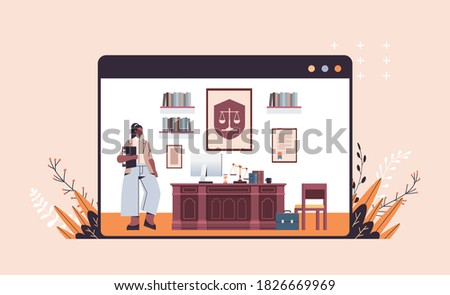 female lawyer standing near at workplace legal law advice and justice concept modern office interior full length horizontal copy space vector illustration Foto stock ©