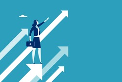 Female leader stands on arrow and points in upward direction. Concept business illustration.
