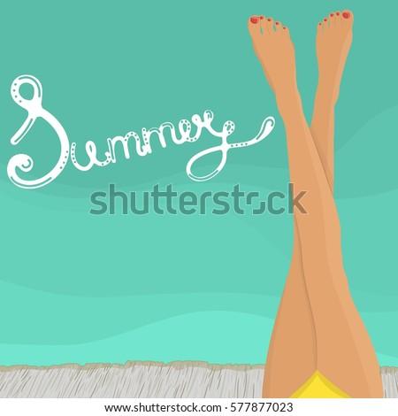 female legs on the beach