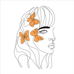 Female line drawing halph face with butterfly in hair. Orange and white vector line art woman .
