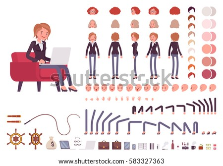 Female manager character creation set. Full length, different views, emotions, gestures, isolated against white background. Build your own design. Cartoon flat-style infographic illustration