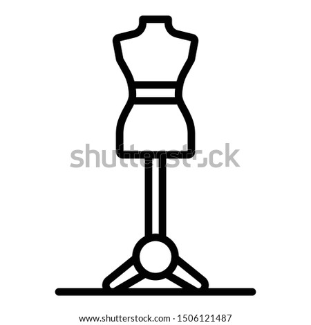 Female mannequin stand icon. Outline female mannequin stand vector icon for web design isolated on white background