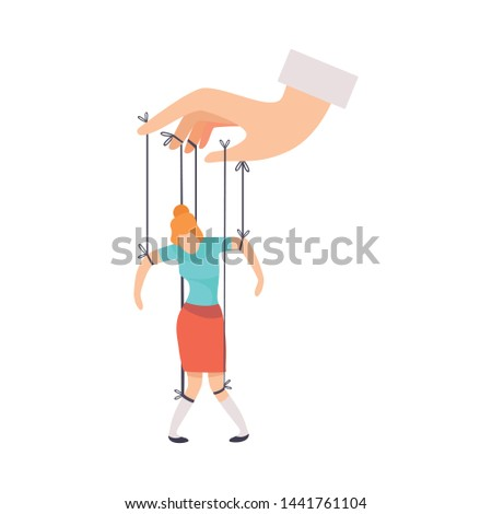 Female Marionette on Ropes Controlled by Hand, Manipulation of People Concept Vector Illustration Stockfoto ©