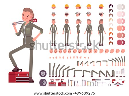 Female mechanic character creation set. Full length, different views, emotions, gestures, isolated against white background. Build your own design. Cartoon flat-style infographic illustration