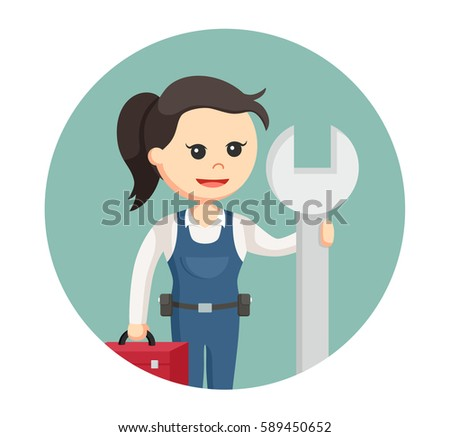 female mechanic with big wrench and tool box in circle background