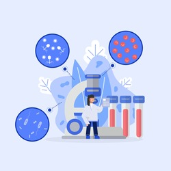 Female medical scientist stand in front of big microscope and blood tubes with red blood cell, bacteria and virus under the microscope.Concept health science character design.