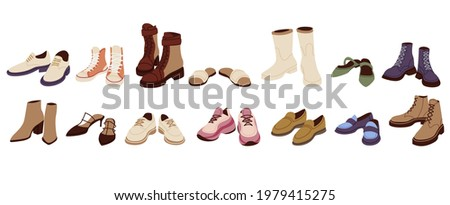 Female modern boots and shoes collection. Trendy sandals and loafers set. Different fashionable sneakers and training shoes in cartoon style. Stock fotó ©