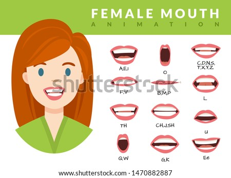 Female mouth animation. Womans talking mouths lips for cartoon character animation and english pronunciation. Sync speech expression vector face elements set for talk and sound alphabet